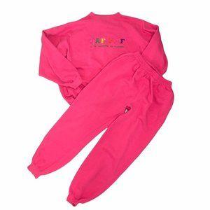 Vintage 90's Women's NAF NAF Oversized Pink Sweat Set - Sweatpants + Sweatshirt